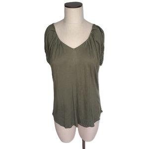New Small Joe's Jeans Olive Pleated V-Neck Blouse